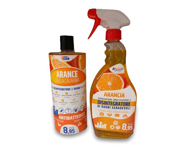 Detergente e sgrassatore antibatterico con funzione disintegratore di odori al profumo di arancia