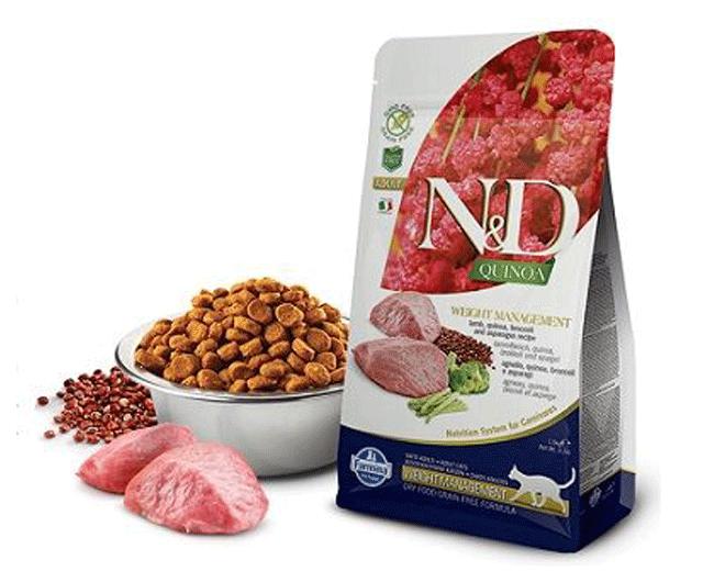 Farmina N&D Weight Management Gatto Adulto Gusto Quinoa, Agnello, Broccoli e Asparagi|Grain Free 1,5 Kg
