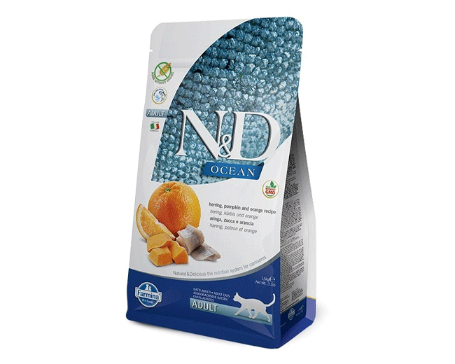 Farmina N&D Ocean Gatto Adulto Crocchette Gusto Aringa, Arancia e Zucca 1.5kg