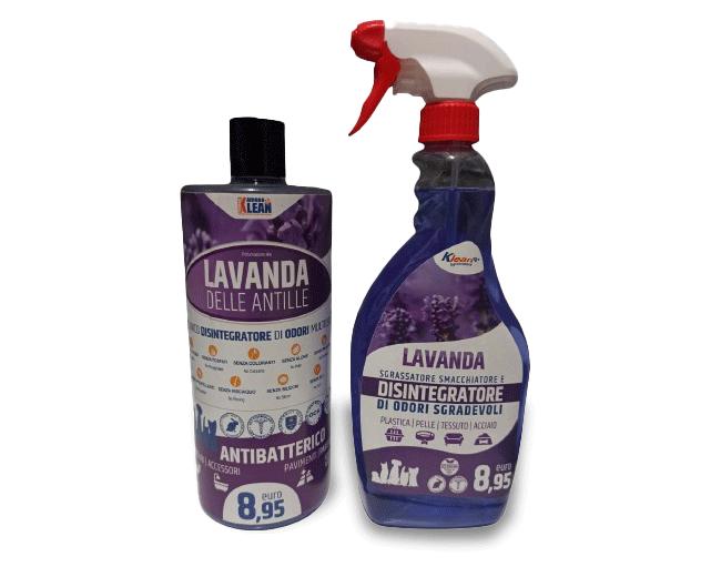 Detergente e sgrassatore antibatterico con funzione disintegratore di odori al profumo di lavanda