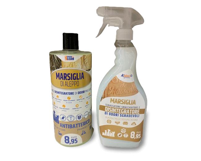 Detergente e sgrassatore antibatterico con funzione disintegratore di odori al profumo di marsiglia