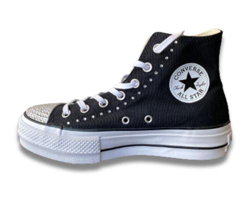 Converse All Star Alta Nera con dettagli in Swarovski